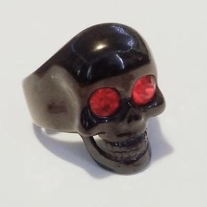 New stainless steel black skull with red eyes